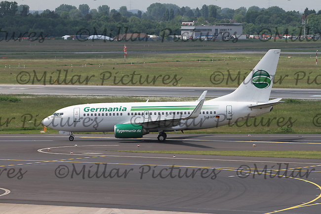 A Germania Boeing 737-75B Registration D-AGEP at Düsseldorf Airport on 28.5.16 arriving from Jersey Airport.