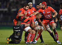 JP Pietersen of RC Toulon is tackled by Aled Brew of Bath Rugby. European Rugby Champions Cup match, between Bath Rugby and RC Toulon on December 16, 2017 at the Recreation Ground in Bath, England. Photo by: Patrick Khachfe / Onside Images