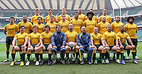 Twickenham, England. The Australian Wallabies pose for a team photograph during the Australia captain's run at Twickenham Stadium on November 16, 2012 in London, England.