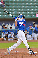 Brian Wolfe (30) of the Ogden Raptors at bat against the Missoula Osprey in Pioneer League action at Lindquist Field on August 5, 2014 in Ogden, Utah.  (Stephen Smith/Four Seam Images)