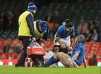 Italy&rsquo;s Sara Barattin checks on team mate Lucia Gai while she receives treatment <br /> <br /> Photographer Ian Cook/CameraSport<br /> <br /> 2018 Women's Six Nations Championships Round 4 - Wales Women v Italy Women - Sunday 11th March 2018 - Principality Stadium - Cardiff<br /> <br /> World Copyright &copy; 2018 CameraSport. All rights reserved. 43 Linden Ave. Countesthorpe. Leicester. England. LE8 5PG - Tel: +44 (0) 116 277 4147 - admin@camerasport.com - www.camerasport.com