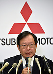 July 27, 2016, Tokyo, Japan - Vice President Koji Ikeya of Japan's Mitsubishi Motors briefs members of the media with the automakers April-June group operating profit at its head office in Tokyo on Wednesday, July 27, 2016. Mitsubishi Motors reported a 75 percent drop in first-quarter operating profit as domestic sales of mini-vehicles plunged in the wake of the companys fuel efficiency data scandal. (Photo by Natsuki Sakai/AFLO) AYF -mis-