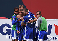 4th July 2020; Ashton Gate Stadium, Bristol, England; English Football League Championship Football, Bristol City versus Cardiff City; Danny Ward of Cardiff City celebrates with his team after scoring in 85th minute 0-1
