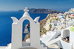 View of the caldera from Oia in Santorini, Greece.