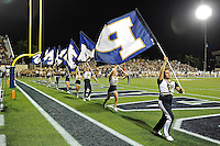 17 September 2011:  FIU's cheerleaders celebrate a field goal in the second half as the FIU Golden Panthers defeated the University of Central Florida Golden Knights, 17-10, at FIU Stadium in Miami, Florida.
