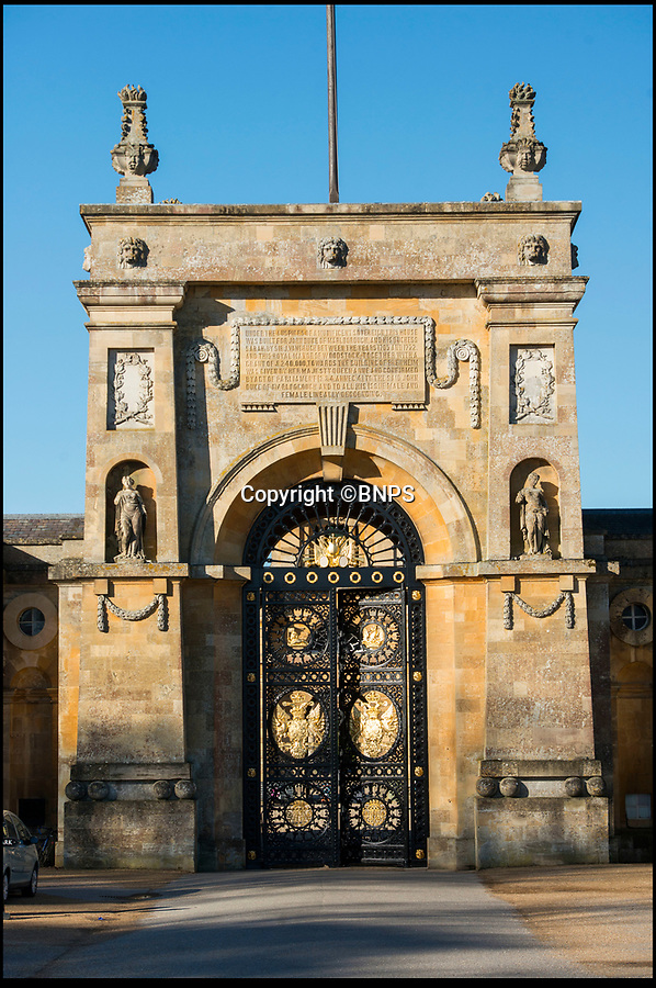 BNPS.co.uk (0102 558833)<br /> Pic: PhilYeomans/BNPS<br /> <br /> The architect Sir John Vanbrugh designed the magnificent entrance.<br /> <br /> Golden Gates restored to their former glory.<br /> <br /> The majestic gates which guard the entrance to Blenheim Palace, Sir Winston Churchill's birthplace, have been given a golden makeover.<br /> <br /> The largest monumental entrance to a private palace in Britain, the massive 20 ft high, 17 tonne gates, installed in 1852, have been painstakingly restored using over 6,000 leaves of 24 carat gold.<br /> <br /> Gilder John Naysmith painstakingly stripped and re-painted the wrought iron and then applied 240 books of gold leaf to the Marlborough coat of arms and crest by hand.