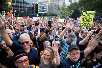 """NEW YORK, NY - JULY 12: Hundreds of people gather outside immigration services building in Foley Square Manhattan for a """"Lights for Liberty"""" protest against immigrant detention camps and the imminent Immigration raids by ICE on July 12, 2019. New York. (Photo by Pablo Monsalve/VIEWpress)"""