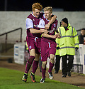 Arbroath's Jack Smith (9) is congratulated by Simon Murray after he scores their second goal.