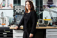 Pattie Maes is the director of the Fluid Interfaces Group at MIT's Media Lab in Cambridge, Massachusetts, seen here on Tues., April 25, 2017. Maes is a professor in and department head of MIT's Department of Media Arts and Sciences.