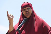 May 3 2019. Carlsbad, CA. | Ismahan Abdullahi of the Muslim American Society  talks at Community Call to Action Led by Community Leaders and Local Elected Officials in Response to Poway Shooting held at Alga Norte Community Park in Carlsbad. | Photos by Jamie Scott Lytle. Copyright.
