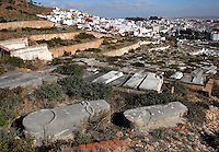 The Jewish or Castilian cemetery, begun after 1492 when the Jewish community of Tetouan reformed with Jews exiled from Castile, containing 35,000 graves, outside the walls of the medina or old town of Tetouan, on the slopes of Jbel Dersa in the Rif Mountains of Northern Morocco. There are 3 cemeteries on this hill; the Muslim cemetery, the Jewish cemetery and the Spanish Catholic or Christian cemetery. Tetouan was of particular importance in the Islamic period from the 8th century, when it served as the main point of contact between Morocco and Andalusia. After the Reconquest, the town was rebuilt by Andalusian refugees who had been expelled by the Spanish. The medina of Tetouan dates to the 16th century and was declared a UNESCO World Heritage Site in 1997. Picture by Manuel Cohen