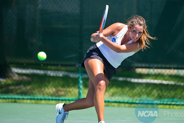 17 MAY 2014:  Barry's Karina Goia backhands a shot from Armstrong's Barbora Kritickcova. Barry University defeated Armstrong Atlantic State University 5-4 to win the individual national title during the Division II Women's Tennis Championship held at Sanlando Park in Altamonte Springs, FL.  Matt Marriott/NCAA Photos