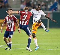 CARSON, CA – July 23, 2011: Chivas USA midfielder Simon Elliott (9) and Houston Dynamo midfielder Je-Vaughn Watson (10) during the match between Chivas USA and Houston Dynamo at the Home Depot Center in Carson, California. Final score Chivas USA 3, Houston Dynamo 0.