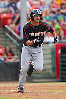 Michael Marjama (12) of the Kannapolis Intimidators hustles down the first base line against the Hickory Crawdads at L.P. Frans Stadium on May 25, 2013 in Hickory, North Carolina.  The Crawdads defeated the Intimidators 14-3.  (Brian Westerholt/Four Seam Images)