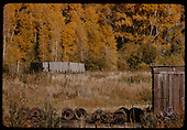Chama yards along river - wheels &amp; box car - shed.<br /> D&amp;RGW  Chama, NM