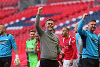 Graham Alexander manager of Salford City celebrates after the AFC Fylde vs Salford City, Vanarama National League Play-Off Final Football at Wembley Stadium on 11th May 2019