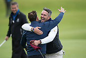 3rd October 2017, The Old Course, St Andrews, Scotland; Alfred Dunhill Links Championship, practice round; Former England cricket captain Kevin Pietersen hugs playing partner Allan Stanton after a birdie on the 18th during a practice round on the Old Course, St Andrews, before the Alfred Dunhill Links Championship
