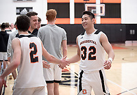 #32 Ryan Kaneshiro<br /> The Occidental College men's basketball team plays against Claremont-Mudd-Scripps on February 12, 2020 in Rush Gym. Oxy won 58-49.<br /> (Photo by Marc Campos, Occidental College Photographer)