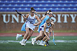 Abby Hormes (38) of the High Point Panthers gathers up a ground ball during first half action against the North Carolina Tar Heels at Vert Track, Soccer & Lacrosse Stadium on February 16, 2018 in High Point, North Carolina.  The Tar Heels defeated the Panthers 14-10.  (Brian Westerholt/Sports On Film)