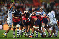 Bath Rugby forwards celebrate after a strong scrum. Gallagher Premiership match, between Bristol Bears and Bath Rugby on August 31, 2018 at Ashton Gate Stadium in Bristol, England. Photo by: Patrick Khachfe / Onside Images