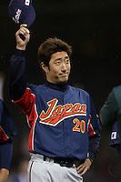 Yasuhiko Yabuta of Japan during World Baseball Championship at Angel Stadium in Anaheim,California on March 18, 2006. Photo by Larry Goren/Four Seam Images