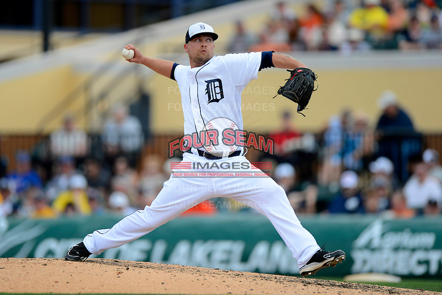 Detroit Tigers pitcher Trevor Bell #63 during a Spring Training game against the New York Mets at Joker Marchant Stadium on March 11, 2013 in Lakeland, Florida.  New York defeated Detroit 11-0.  (Mike Janes/Four Seam Images)