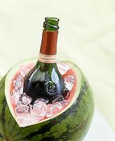 An innnovative way of using a watermelon as an ice bucket