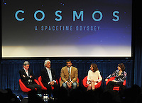 BEVERLY HILLS, CA - AUGUST 3: (L-R) Alan Silvestri, Mitchell Cannold, Neil DeGrasse Tyson, Ann Druyan, and Jennifer Ouellette during the Q&A panel at the Fox And National Geographic Channel Presents A Screening Of 'Cosmos: A Spacetime Odyssey' at The Paley Center for Media on August 3, 2014 in Beverly Hills, California. PGFM/Starlitepics