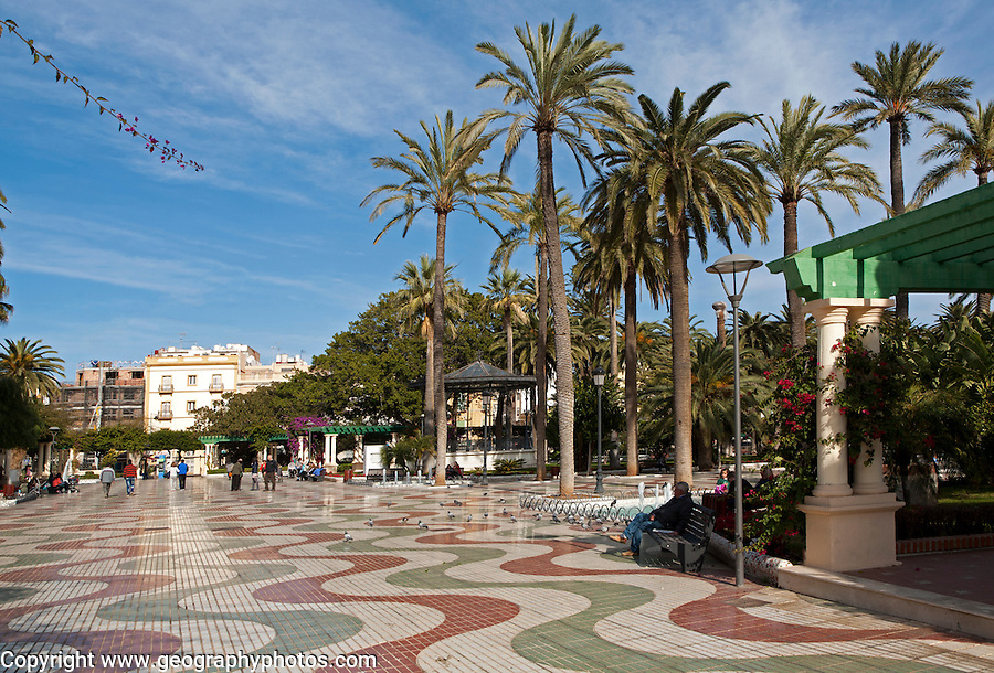 Herandez Park in Melilla autonomous city state Spanish territory in north Africa, Spain