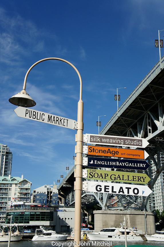 Signpost on Granville Island, Vancouver, British Columbia, Canada