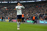 Son Heung-Min of Tottenham Hotspur celebrates scoring the opening goal during Tottenham Hotspur vs Huddersfield Town, Premier League Football at Wembley Stadium on 3rd March 2018