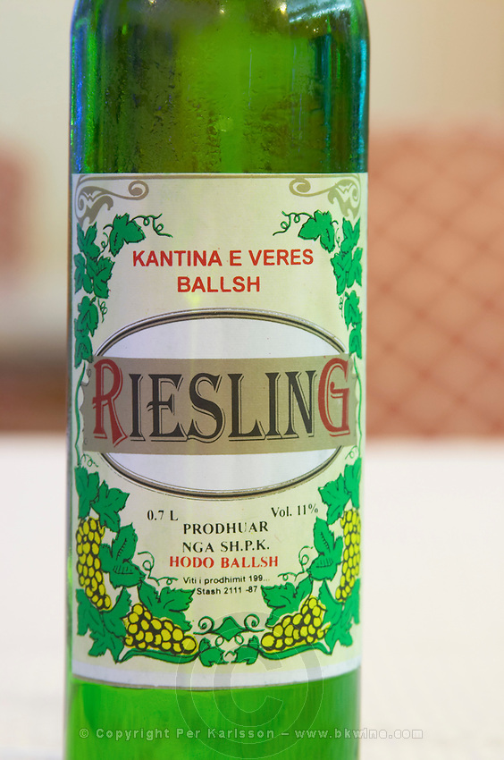 Bottle of Kantina e Veres Ballsh Riesling Hoso Ballsh. Label detail. Tirana capital. Albania, Balkan, Europe.