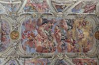 Guglielmo Borremans frescoes, ceiling of the nave of Santa Maria della Pieta, late 16th century Baroque church built by Giacomo Amato, Kalsa district, Palermo, Sicily, Italy. Picture by Manuel Cohen