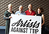 Artists Against TTIP <br /> The Transatlantic Trade &amp; Investment Partnership (TTIP) - a growing group of performers musicians designers directors who are raising awareness of the threats posed by TTIP. <br /> at the Young Vic Theatre London Great Britain <br /> 2nd July 2015 <br /> <br /> Dame Vivienne Westwood <br /> Mike Leigh <br /> Mark Rylance <br /> Helen McCrory <br /> <br /> Photograph by Elliott Franks <br /> Image licensed to Elliott Franks Photography Services