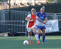 Allston, Massachusetts - May 22, 2015: In a National Women's Soccer League (NWSL) match, Boston Breakers (blue) tied Sky Blue FC (white/orange), 1-1 (halftime), at Soldiers Field Soccer Stadium.