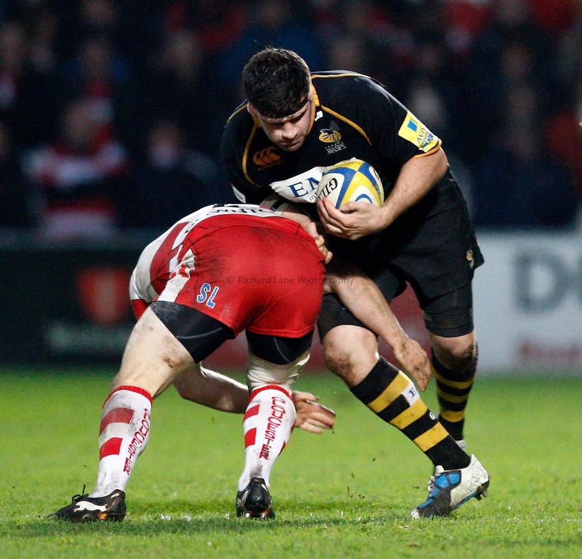 Photo: Richard Lane/Richard Lane Photography. Gloucester Rugby v London Wasps. Aviva Premiership. 26/12/2011. Wasps' Rob Webber attacks.