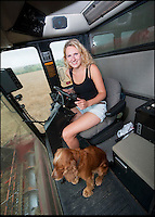 BNPS.co.uk (01202 558833)<br /> Pic: PhilYeomans/BNPS<br /> <br /> Katy (21) drives the combine harvester<br /> <br /> Far from the Madding Crowd - Land Girls...Plucky mum and her daughters running the family farm in the heart of Dorset.<br /> <br /> Widow Carol Besent is getting a bumper harvest in this year with the help of her three daughters Georgina, Harriet and Katy.<br /> <br /> Carol's husband died four years ago and rather than give up the family farm Carol and her daughters have taken the unusual step of running the 700 acre mixed arable and dairy farm themselves.