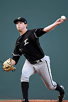 Starting pitcher John Parke (30) of the Kannapolis Intimidators delivers a pitch in Game 4 of the South Atlantic League Championship Series against the Greenville Drive on Friday, September 15, 2017, at Fluor Field at the West End in Greenville, South Carolina. It was his Class A debut across the street from Greenville High, where he played high school baseball. Greenville won 8-3 for the team's first SAL Championship, winning the series 3-1. (Tom Priddy/Four Seam Images)