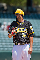 Salt Lake Bees starting pitcher Tyler DeLoach (32) delivers a pitch to the plate against the Albuquerque Isotopes in Pacific Coast League action at Smith's Ballpark on June 28, 2015 in Salt Lake City, Utah. The Isotopes defeated the Bees 8-3. (Stephen Smith/Four Seam Images)