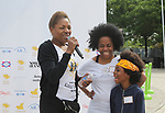 Founder Deborah Koenigsberger and Another World's and singer Rhonda Ross and son Raif - she sang the National Anthem  - Hearts of Gold 7th Annual Run/Walk for Kids with proceeds from this fun family event will change the futures of homeless mothers and their children on June 3, 2017 at Pier 84 Hudson Parks, New York City, New York. It supports Hearts of Gold Annual Back to School Programs. (Photo by Sue Coflin/Max Photos)