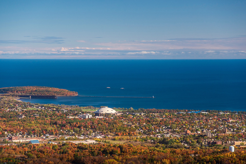 Aerial photography of Marquette, Michigan on Lake Superior with fall color.