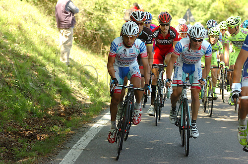 16.05.2012. Assisi, Italy.  Giro d'Italia, stage 11 Assisi to   Montecatini Terme, Androni Giocattoli 2012, Sella Emanuele, Rujano Guillen Josè