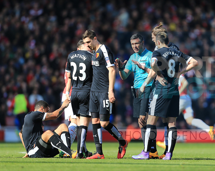Watford's players complain to referee Andre Marriner after a tackle by Arsenal's Gabriel during the Emirates FA Cup match at The Emirates Stadium.  Photo credit should read: David Klein/Sportimage