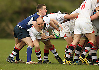 Saturday 12th May 2012  Ulster scrum half James Bates gets the ball away under pressure from Leinster's  Gavin Kennedy during the Junior Inter-Provincial between Ulster and Leinster at the Glynn, Larne, County<br /> Antrim.<br /> <br /> Photo credit : John Dickson / DICKSONDIGITAL
