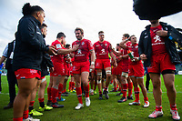 Toulouse players leave the field after the match. Heineken Champions Cup match, between Bath Rugby and Stade Toulousain on October 13, 2018 at the Recreation Ground in Bath, England. Photo by: Patrick Khachfe / Onside Images