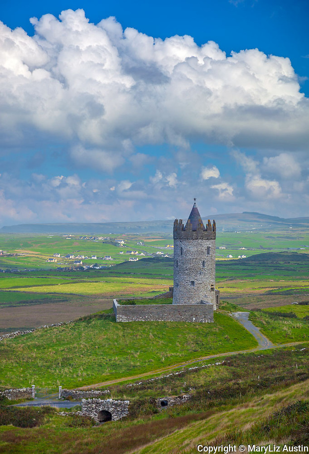 County Clare, Ireland: Tower Castle and fields near Doolin, on Ireland's west coast