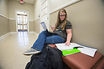 Senior Bianca Bailey studies for a speaking test in German in Bondurant Hall. Photo by Kevin Bain/University Communications Photography