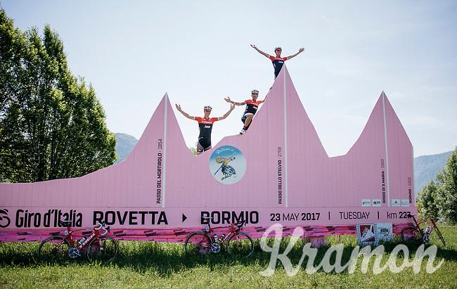 Jasper Stuyven (BEL/Trek-Segafredo), Mads Pedersen (DEN/Trek-Segafredo) &amp; Eugenio Alafaci (ITA/Trek-Segafredo) conquering the infamous Stelvio on the training ride<br /> <br /> restday 3 training ride with Team Trek-Segafredo<br /> 100th Giro d'Italia 2017