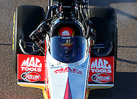 Feb 27, 2016; Chandler, AZ, USA; NHRA top fuel driver Doug Kalitta during qualifying for the Carquest Nationals at Wild Horse Pass Motorsports Park. Mandatory Credit: Mark J. Rebilas-USA TODAY Sports