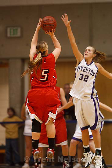 Taylorsville - Riverton vs. American Fork High School girls basketball, 5A State Championship game Saturday February 28, 2009 at Salt Lake Community College..American Fork's Haley Holmstead (5) Riverton's Alle Finch (32)